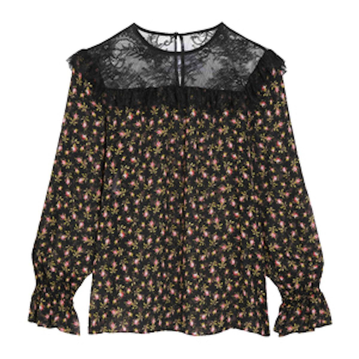 Ruffled Lace-Paneled Printed Silk-Chiffon Blouse