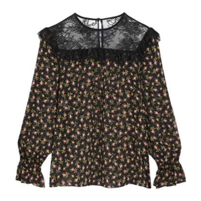 Ruffled Lace-Paneled Printed Silk-Chiffon Blouse