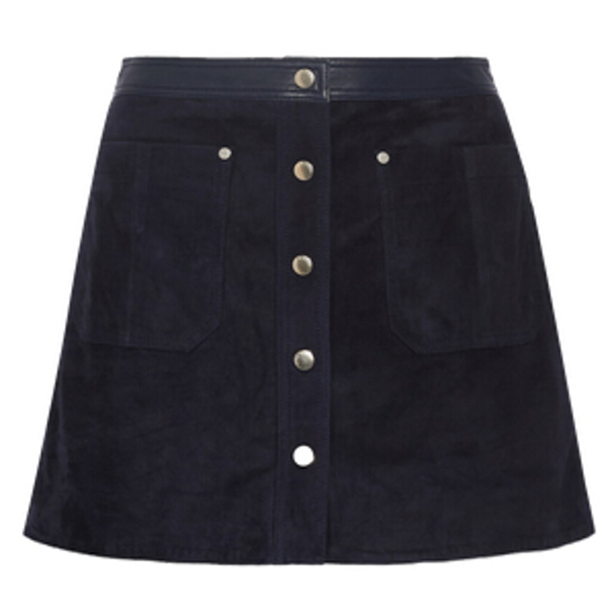 Siggy Leather-Trimmed Suede Mini Skirt