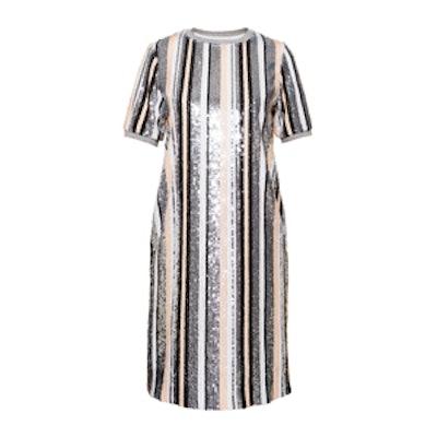Multicolor Stripe Sequin Mini Dress