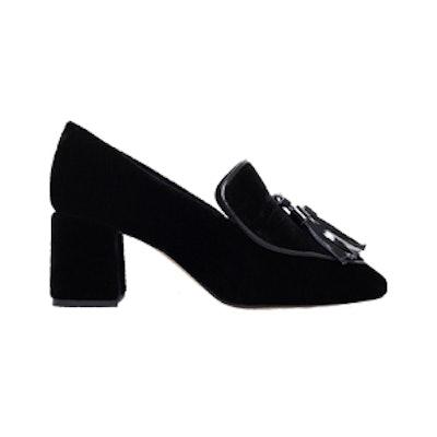Alexa Suede Block Heel Loafers