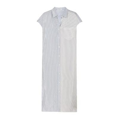 Striped Satin Shirt Dress