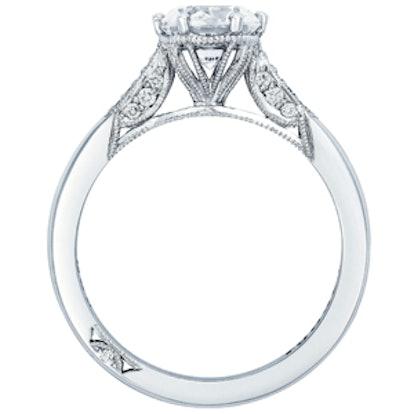 Round Pavé Diamond Enagement Ring in Platinum