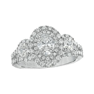 Oval Diamond Three Stone Engagement Ring