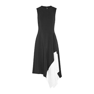 Asymmetric Two-Tone Stretch-Cady Dress