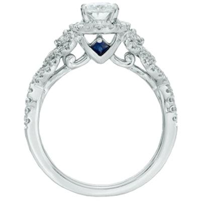 Oval Diamond Frame Engagement Ring in 14K White Gold
