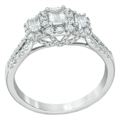 Emerald-Cut Diamond Three Stone Frame Ring in 14K White Gold