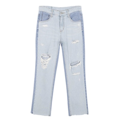 Zaria Two-Toned Distressed Jeans
