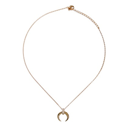 Jeikey Gold Crystal Crescent Necklace