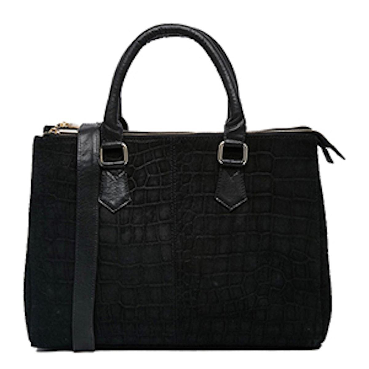 Croc Embossed Suede Tote Bag