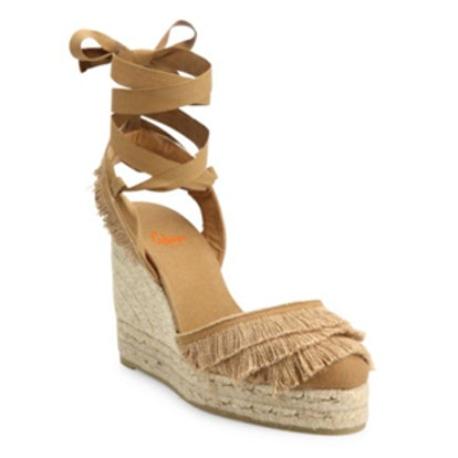 Cala Feathered Canvas Espadrille Wedge Sandal