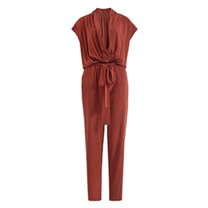 Drap V Neck Silk Jumpsuit