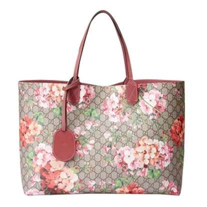 Reversible GG Blooms Leather Tote