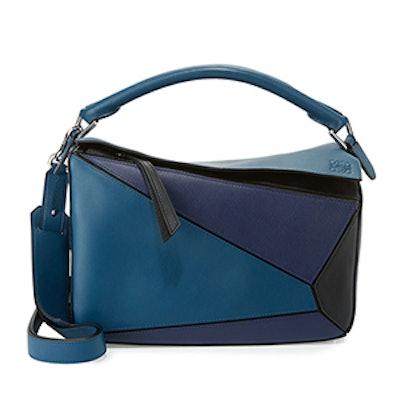 Puzzle Colorblock Leather Satchel Bag