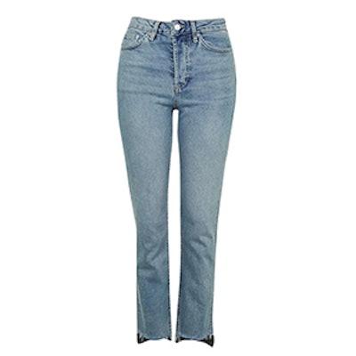 Moto Stepped Hem Straight Leg Jeans