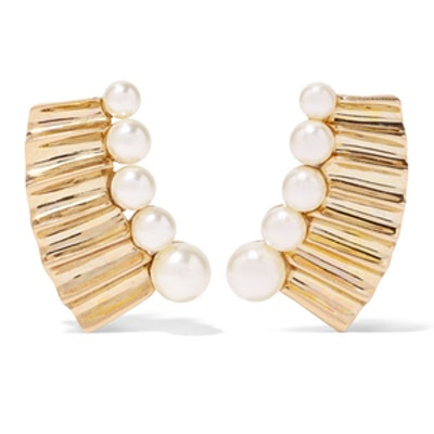 Gold-Plated Pearl Clip Earrings