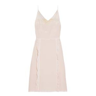 Ruffled Chantilly Lace-Trimmed Silk Crepe De Chine Dress