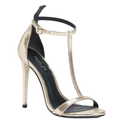 Tee Metallic Snake Embossed Sandals