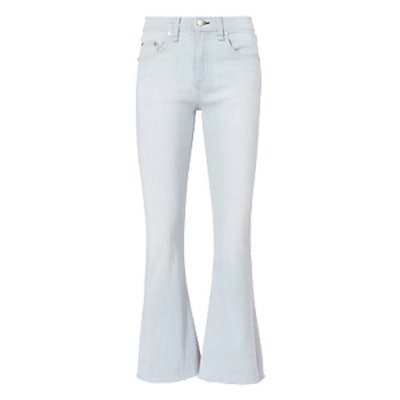 High Rise Raw Edge Crop Flare Jeans in Ashling