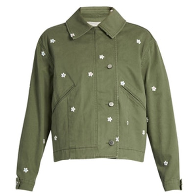 Floral-Embroidered Utility Jacket
