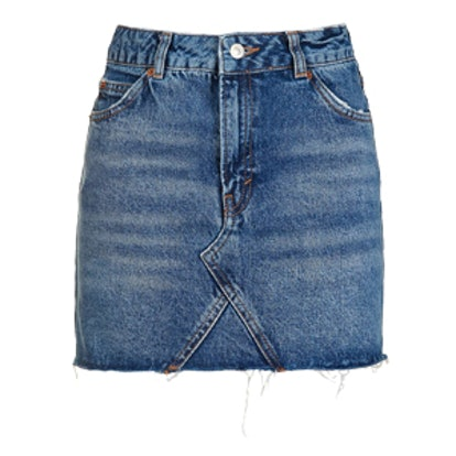 Moto Denim High Waist Pelmet Skirt