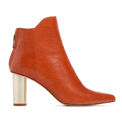 Laminated Leather High Heel Ankle Boots