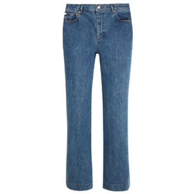 Sailor Cropped Mid-Rise Wide-Leg Jeans
