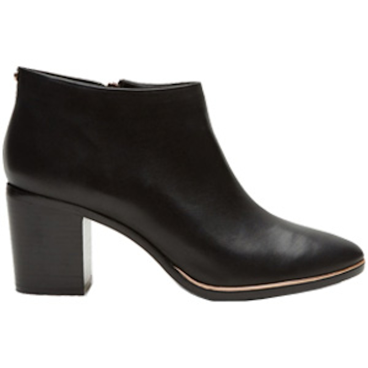 Block Heeled Leather Ankle Boots