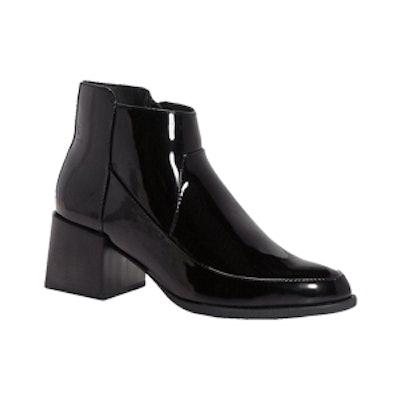 Block Heel Patent Ankle Boot