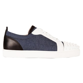 Louis Junior 30 Spiked Leather And Denim Sneakers