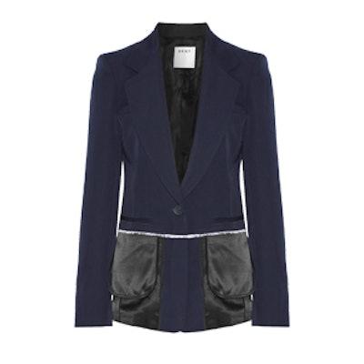 Satin-Trimmed Wool-Twill Blazer