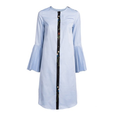 Cotton + Printed Crepe Pleated Sleeve Shirt Dress
