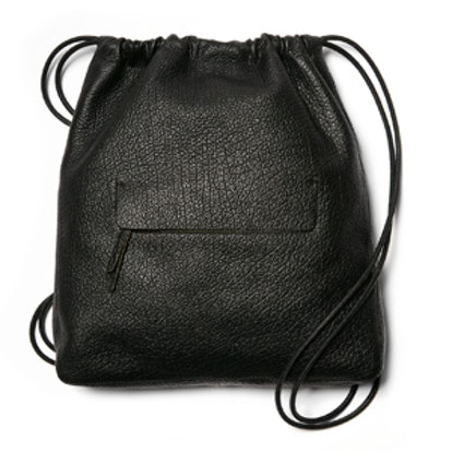 Grain Leather Drawstring Sling Bag