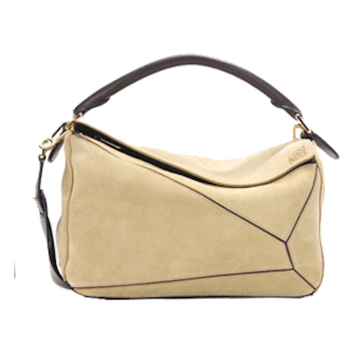 Puzzle Suede Shoulder Bag