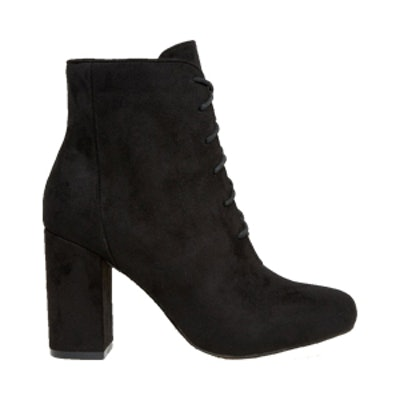 Lace Up Block Heeled Ankle Boot