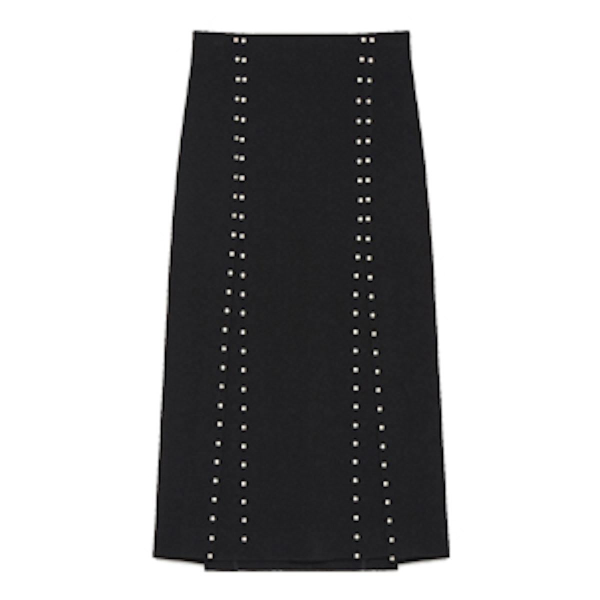 Long Slit Skirt With Studs