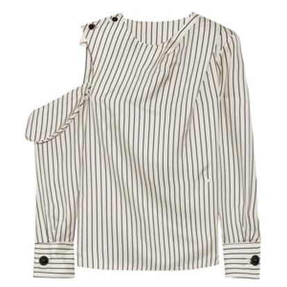 One-Shoulder Pinstriped Blouse