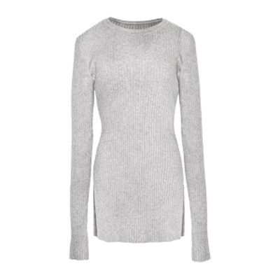 Grey Skinny Ribbed Long Sleeve Top
