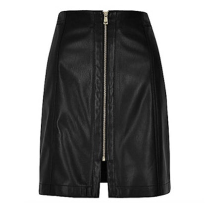 Leather Look Zip Mini Skirt