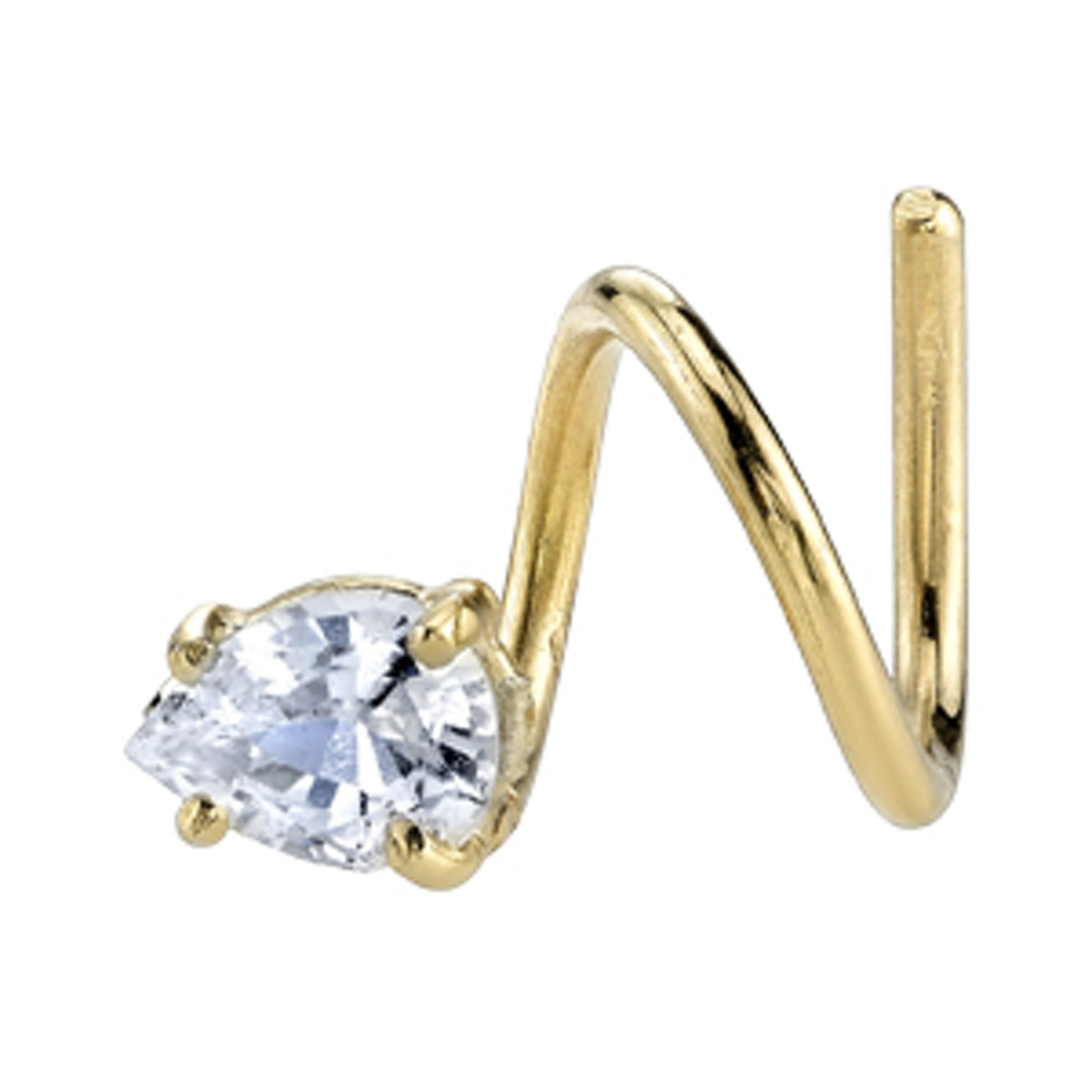 White Sapphire Pear Spiral Earring