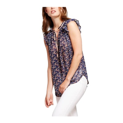 Women's Ditsy Floral Flutter Top Navy