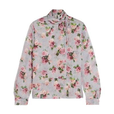 Aubrey Draped Floral-Print Silk Crepe De Chine Blouse