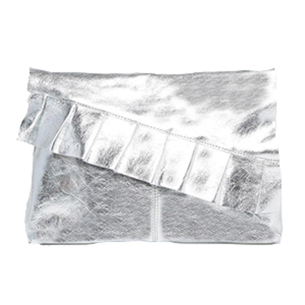 Metallic Leather Ruffle Clutch Bag