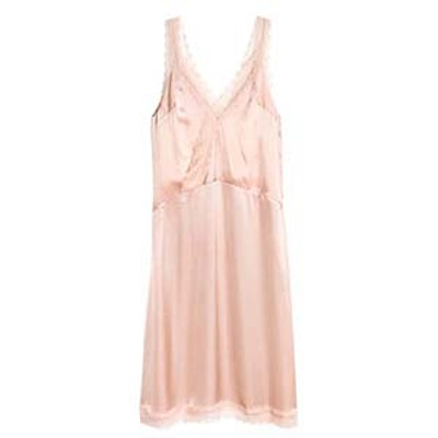Satin Dress with Lace
