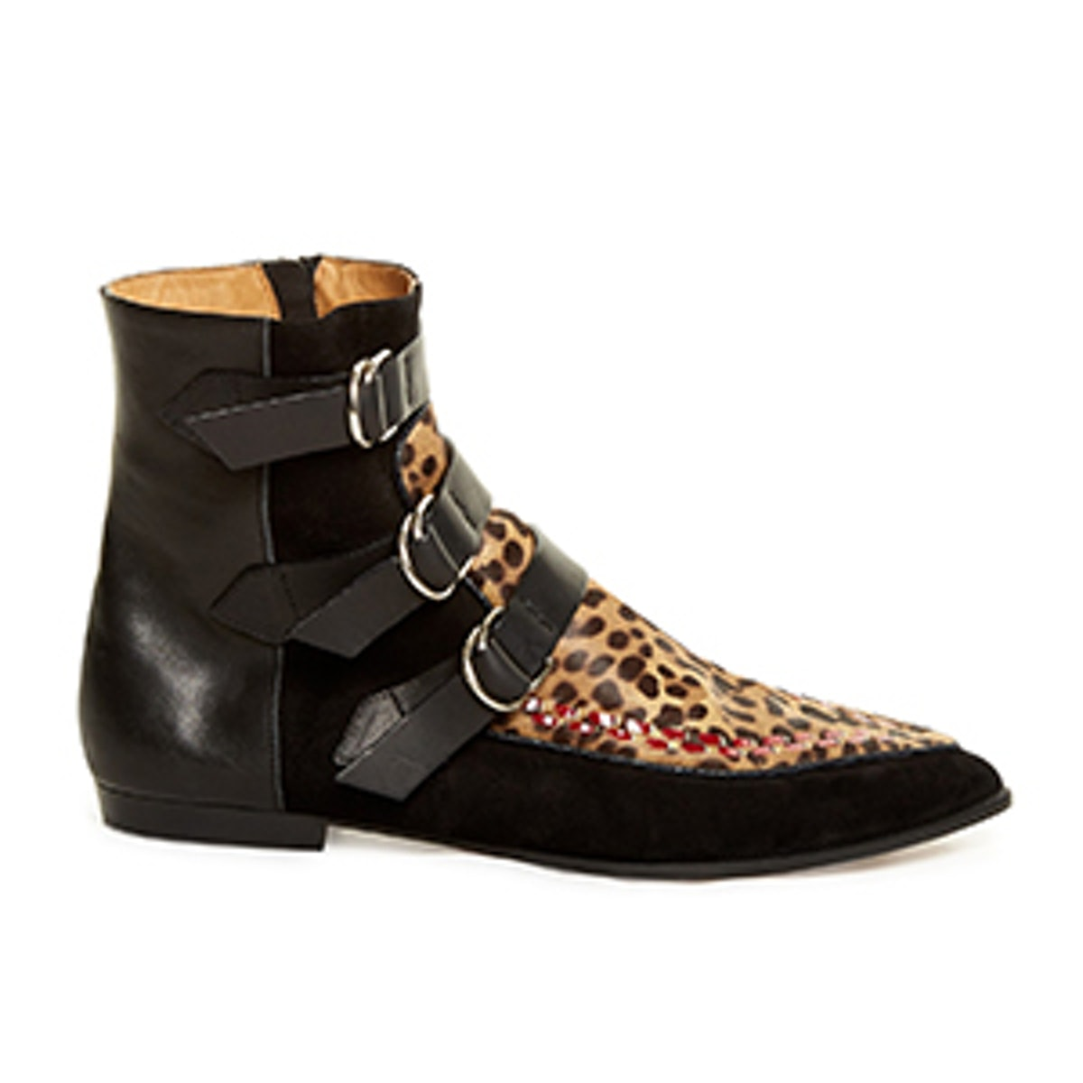 Rowi Calf-Hair Leather and Suede Ankle Boots