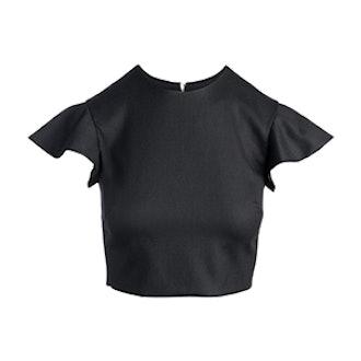 Merino Ruffle Sleeve Cropped Top
