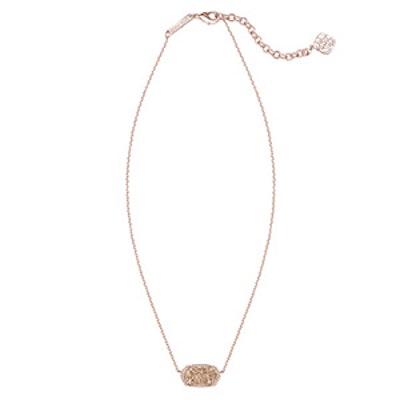 Elisa Pendant Necklace in Rose Pink Drusy