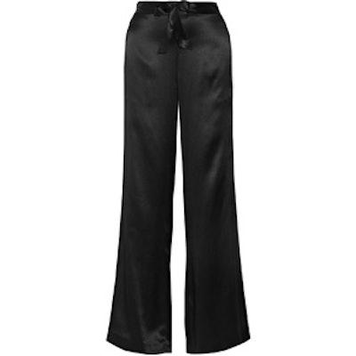 Silk-Charmeuse Wide-Leg Pants