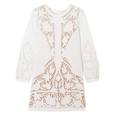 Juniper Guipure Lace-Paneled Embroidered Mini Dress