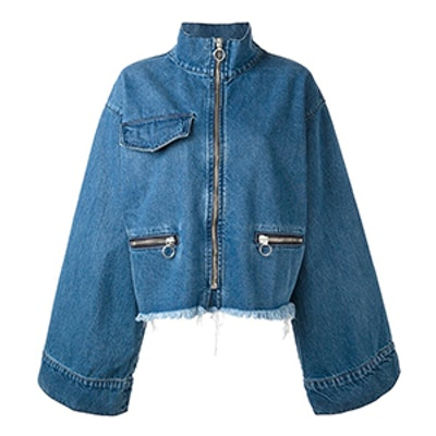 Flared Sleeves Zipped Jacket